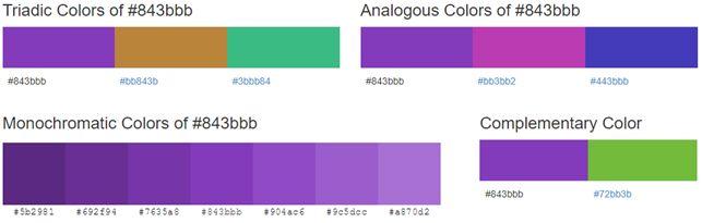 Palette de couleur associée au Violet #843bbb selon Color-Hex
