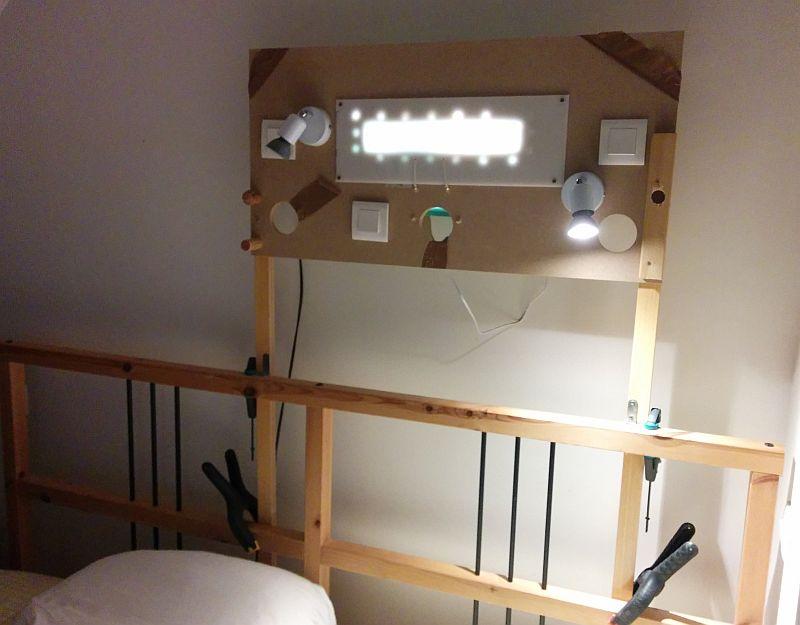 Fixation temporaire du prototype d'éclairage de chambre