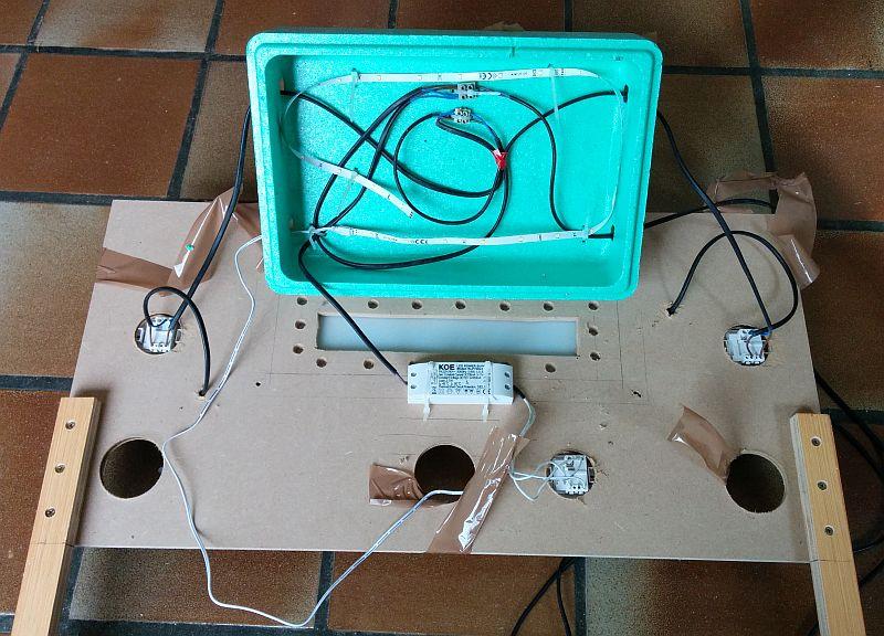 Câblage du prototype d'éclairage de chambre