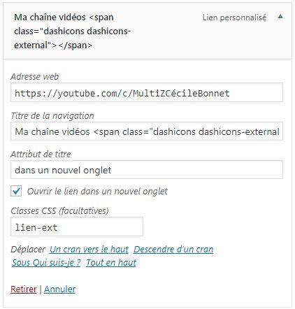 Réglages de menu WordPress : un titre de menu avec classe CSS spécifique