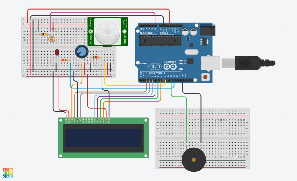 Le schéma complet du montage Arduino + détecteur de mouvement + détecteur de luminosité + écran LCD + LED rouge + haut-parleur