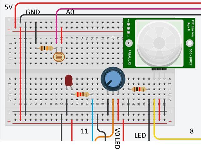 Arduino, mouvement et luminosité : préparation branchements