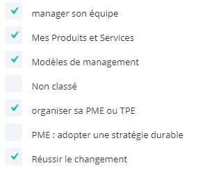 Liste des catégories à afficher avec le modèle pour un groupe de catégories