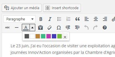 L'éditeur WordPress : des couleurs de texte personnalisées V2