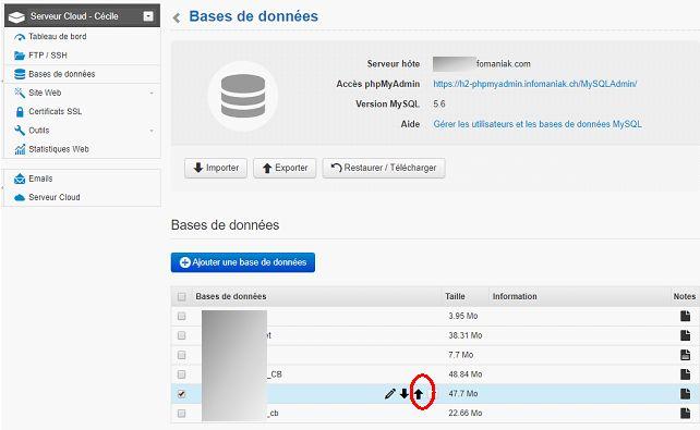 Infomaniak : exporter une base de données