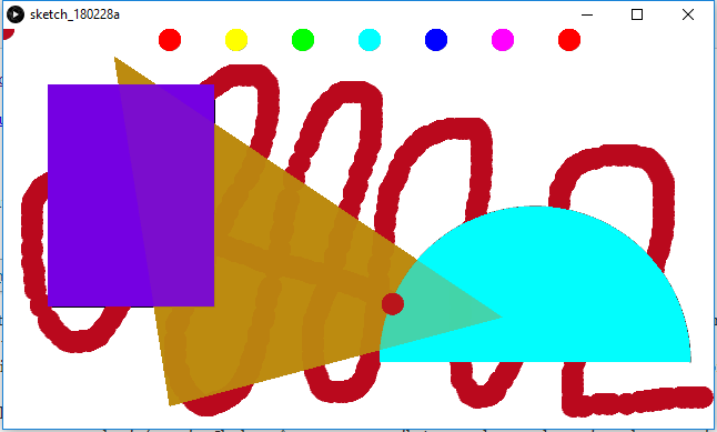 Processing : exploration des couleurs HSB et de l'ordre des dessins
