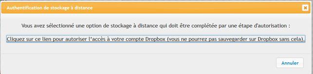 Updraft Plus : Réglage pour Dropbox
