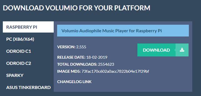 Téléchargement de la version Raspberry Pi de Volumio.