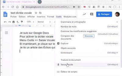 Dictée vocale avec Google Docs !