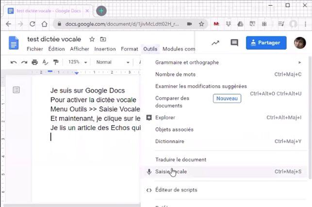 Dictée vocale avec Google Docs
